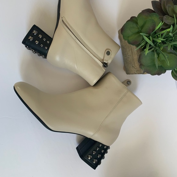 GEOX ivory leather booties with studded heels 8US